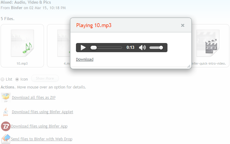 binfer-receive-files-html5-media-play-music