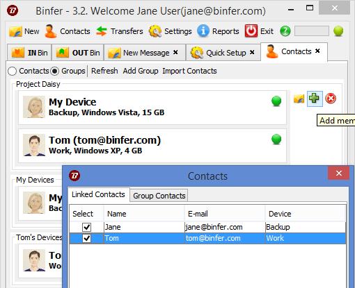 binfer groups 3.2 update screen